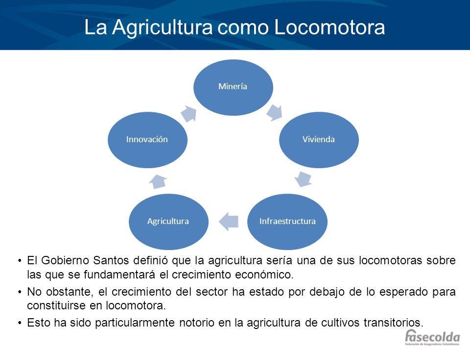 La Agricultura como Locomotora El Gobierno Santos definió que la agricultura sería una de sus locomotoras sobre las que se fundamentará el crecimiento