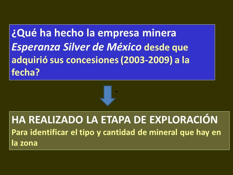 . HA REALIZADO LA ETAPA DE EXPLORACIÓN Para identificar el tipo y cantidad de mineral que hay en la zona ¿Qué ha hecho la empresa minera Esperanza Sil