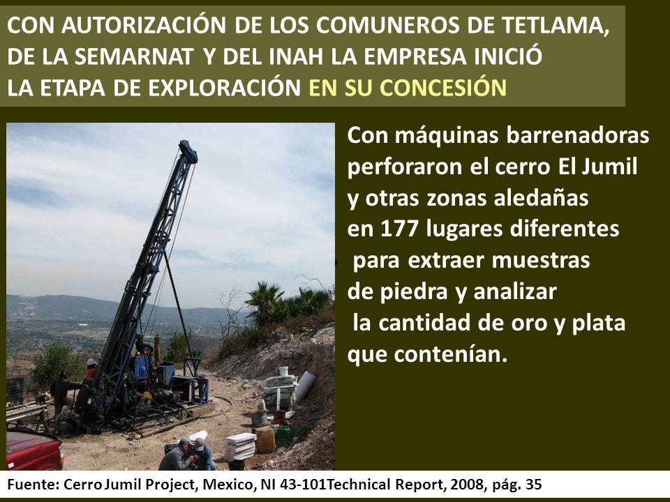 Cerro El Jumil Fuente: Cerro Jumil Project, Mexico, NI 43-101Technical Report, 2008, pág.