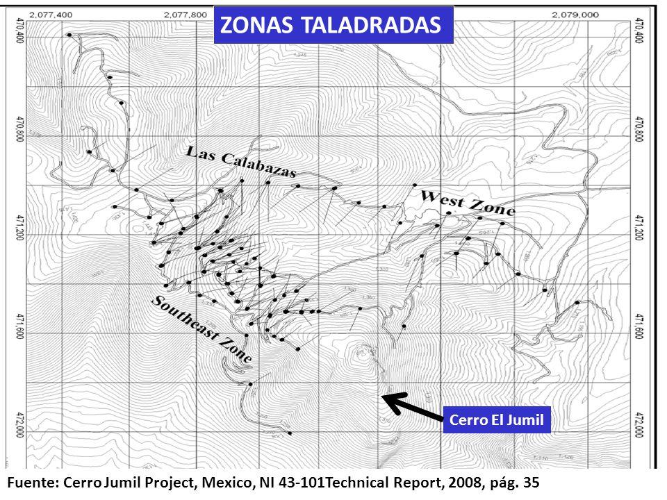 . Cerro El Jumil Fuente: Cerro Jumil Project, Mexico, NI 43-101Technical Report, 2008, pág. 35 ZONAS TALADRADAS