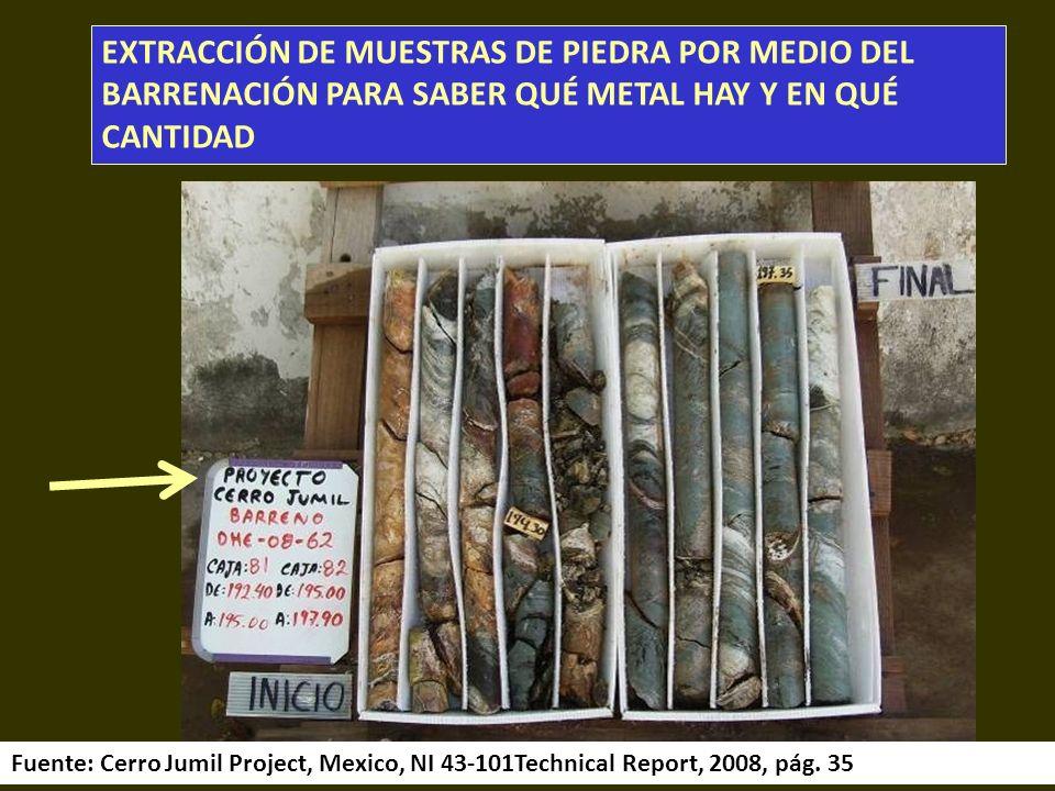 . EXTRACCIÓN DE MUESTRAS DE PIEDRA POR MEDIO DEL BARRENACIÓN PARA SABER QUÉ METAL HAY Y EN QUÉ CANTIDAD Fuente: Cerro Jumil Project, Mexico, NI 43-101