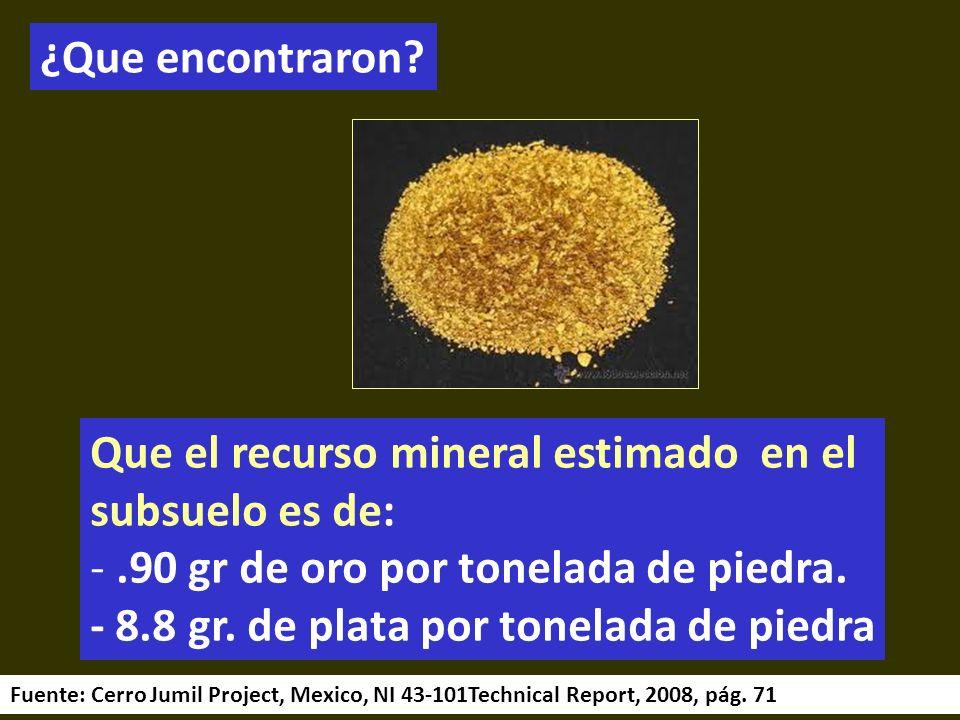 . ¿Que encontraron? Que el recurso mineral estimado en el subsuelo es de: -.90 gr de oro por tonelada de piedra. - 8.8 gr. de plata por tonelada de pi