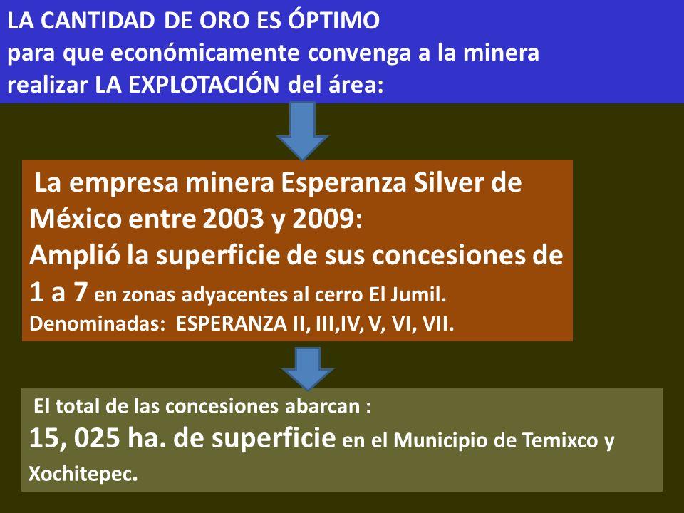 . El total de las concesiones abarcan : 15, 025 ha. de superficie en el Municipio de Temixco y Xochitepec. LA CANTIDAD DE ORO ES ÓPTIMO para que econó