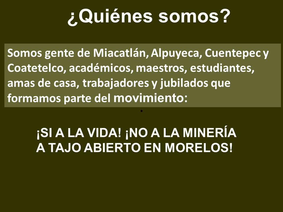 . Somos gente de Miacatlán, Alpuyeca, Cuentepec y Coatetelco, académicos, maestros, estudiantes, amas de casa, trabajadores y jubilados que formamos p