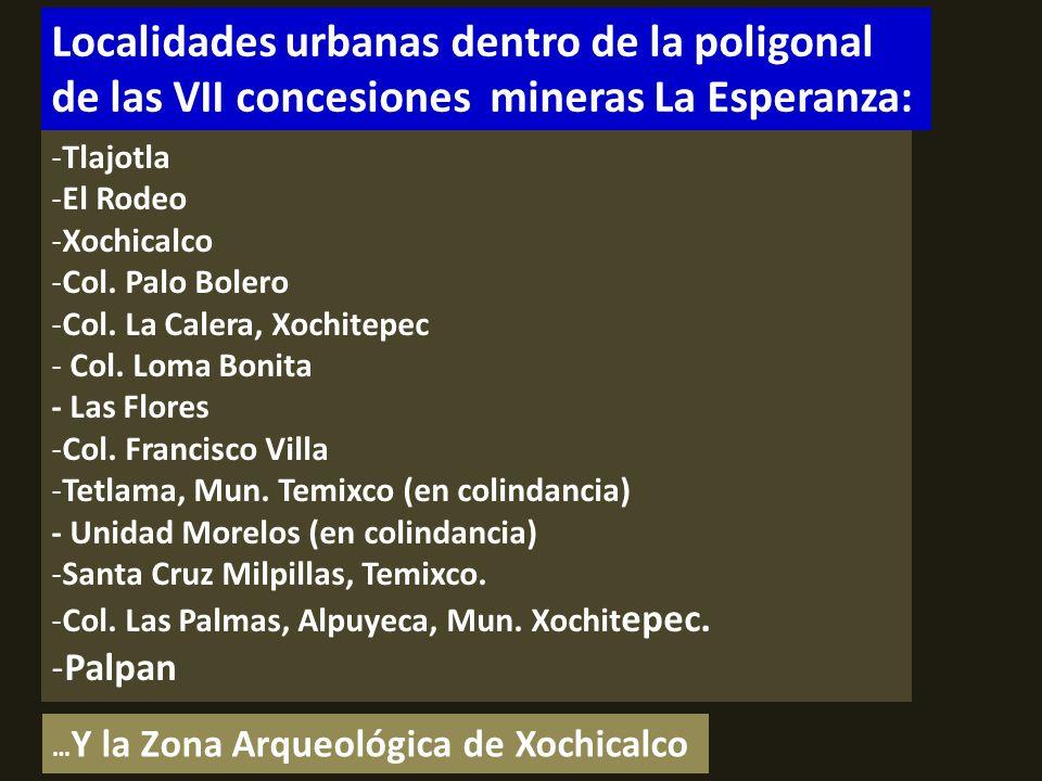. NÚCLEOS AGRARIOS AFECTADOS dentro de la poligonal de las concesiones mineras de Esperanza Silver: - Bienes comunales de Tetlama - Ejido de Tetlama - Bienes comunales de Cuentepec -Ejido de Palpan -Ejido de Tlajotla -Ejido de Palo Grande -Bienes comunales de Miacatlán - Ejido de Miacatlán -Ejido de Coatetelco -Bienes comunales de Alpuyeca -Ejido de Xochitepec