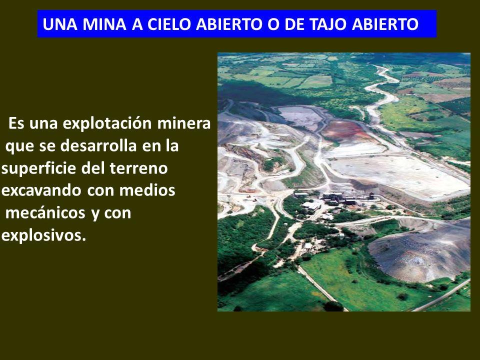 . Es una explotación minera que se desarrolla en la superficie del terreno excavando con medios mecánicos y con explosivos. UNA MINA A CIELO ABIERTO O