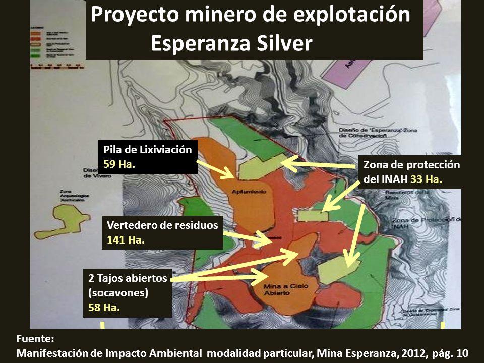 La mina Esperanza Silver contempla dos tajos (socavones o excavaciones): MINA A CIELO ABIERTO O DE TAJO ABIERTO 1 km.