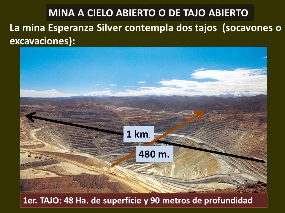 . La mina Esperanza Silver contempla dos tajos (socavones o excavaciones): MINA A CIELO ABIERTO O DE TAJO ABIERTO 1 km. 480 m. 1er. TAJO: 48 Ha. de su