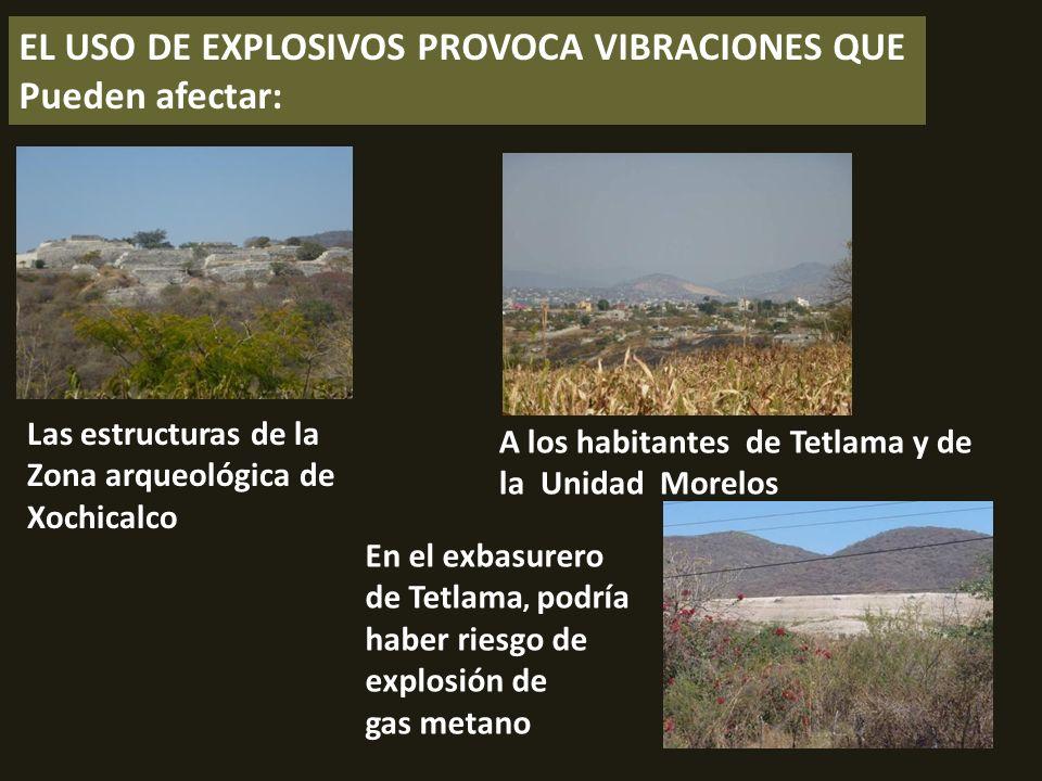 . EL USO DE EXPLOSIVOS PROVOCA VIBRACIONES QUE Pueden afectar: Las estructuras de la Zona arqueológica de Xochicalco A los habitantes de Tetlama y de