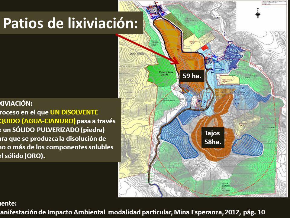 . Tajos 58ha. Patios de lixiviación: 59 ha. Fuente: Manifestación de Impacto Ambiental modalidad particular, Mina Esperanza, 2012, pág. 10 LIXIVIACIÓN