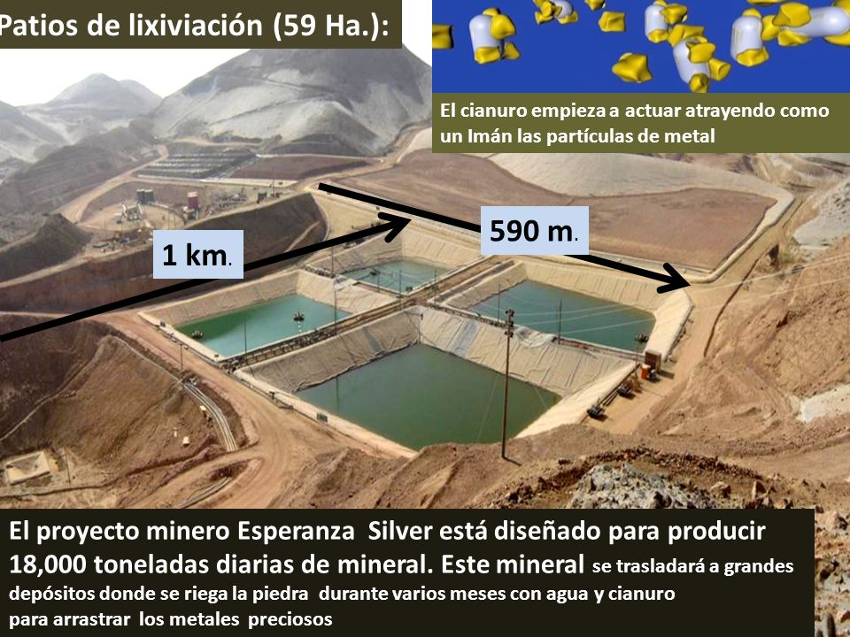 Patios de lixiviación (59 Ha.): El proyecto minero Esperanza Silver está diseñado para producir 18,000 toneladas diarias de mineral. Este mineral se t
