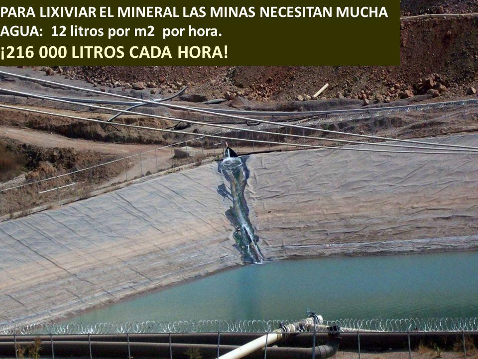 . PARA LIXIVIAR EL MINERAL LAS MINAS NECESITAN MUCHA AGUA: 12 litros por m2 por hora. ¡216 000 LITROS CADA HORA!
