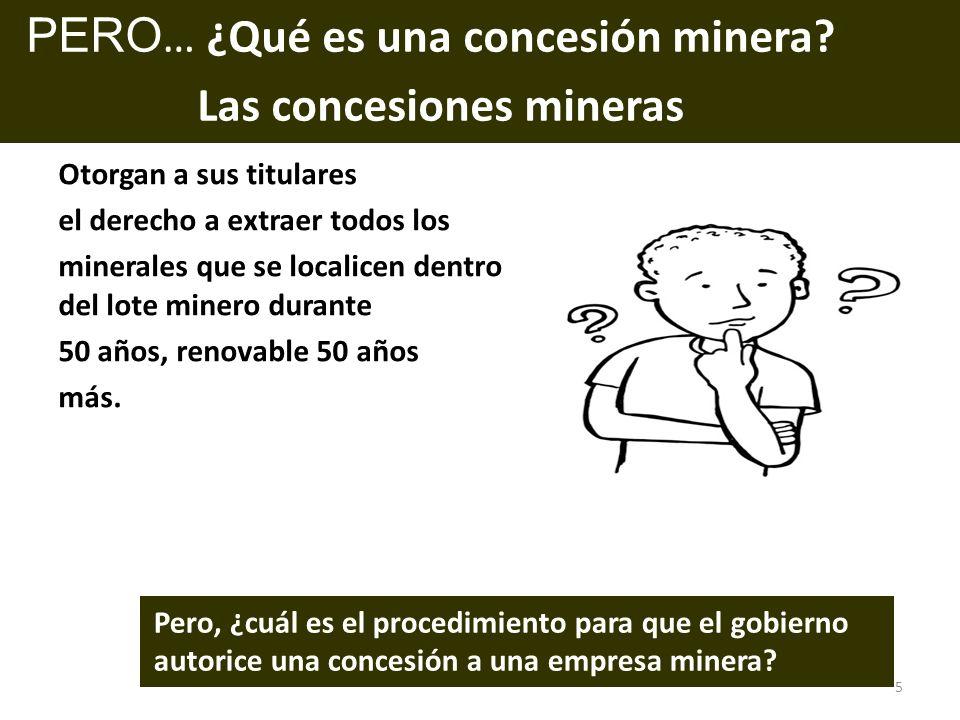 Pero, ¿cuál es el procedimiento para que el gobierno autorice una concesión a una empresa minera? PERO … ¿Qué es una concesión minera? Las concesiones