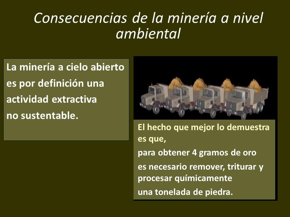 . Consecuencias de la minería a nivel ambiental La minería a cielo abierto es por definición una actividad extractiva no sustentable. El hecho que mej
