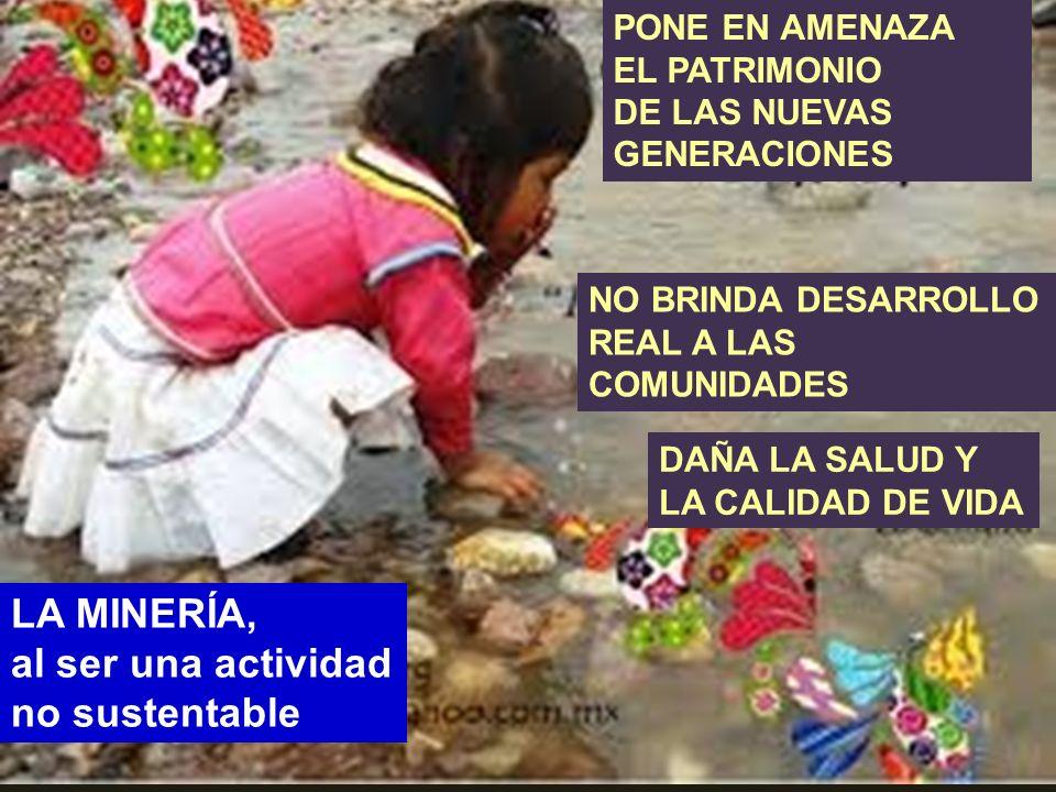. LA MINERÍA, al ser una actividad no sustentable PONE EN AMENAZA EL PATRIMONIO DE LAS NUEVAS GENERACIONES DAÑA LA SALUD Y LA CALIDAD DE VIDA NO BRIND