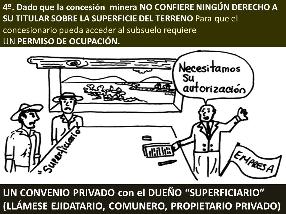 . 4º. Dado que la concesión minera NO CONFIERE NINGÚN DERECHO A SU TITULAR SOBRE LA SUPERFICIE DEL TERRENO Para que el concesionario pueda acceder al