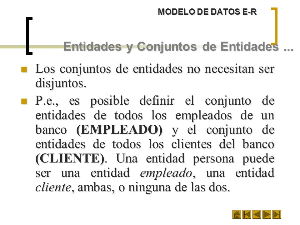 MODELO DE DATOS E-R Entidades y Conjuntos de Entidades... Los conjuntos de entidades no necesitan ser disjuntos. Los conjuntos de entidades no necesit