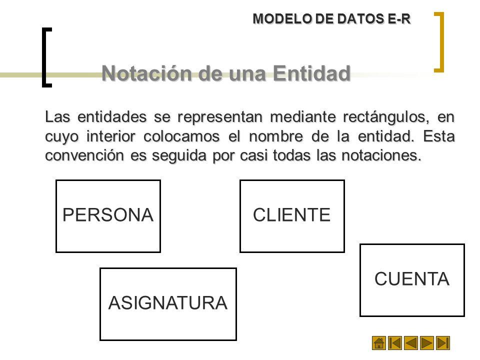 MODELO DE DATOS E-R Notación de una Entidad Las entidades se representan mediante rectángulos, en cuyo interior colocamos el nombre de la entidad. Est