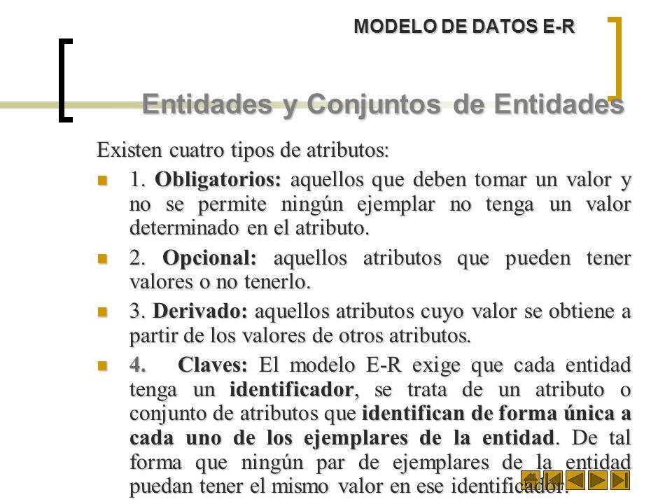 MODELO DE DATOS E-R Entidades y Conjuntos de Entidades Existen cuatro tipos de atributos: 1. Obligatorios: aquellos que deben tomar un valor y no se p