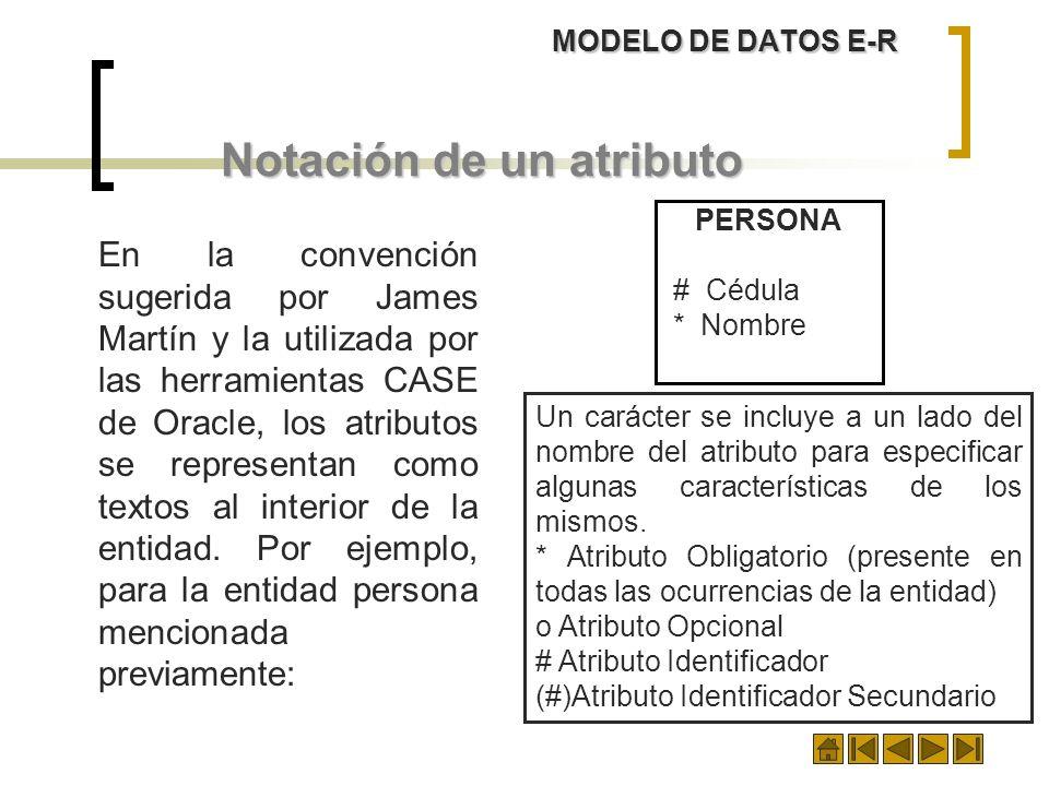 MODELO DE DATOS E-R Notación de un atributo En la convención sugerida por James Martín y la utilizada por las herramientas CASE de Oracle, los atribut
