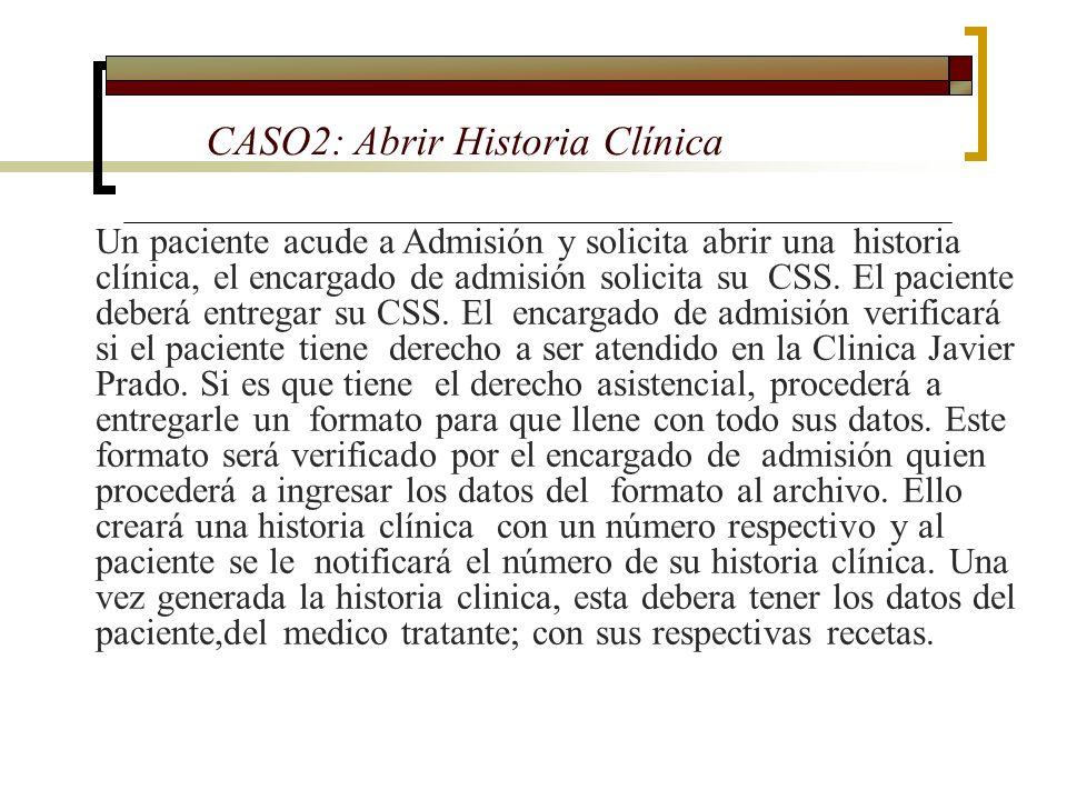 CASO2: Abrir Historia Clínica Un paciente acude a Admisión y solicita abrir una historia clínica, el encargado de admisión solicita su CSS. El pacient