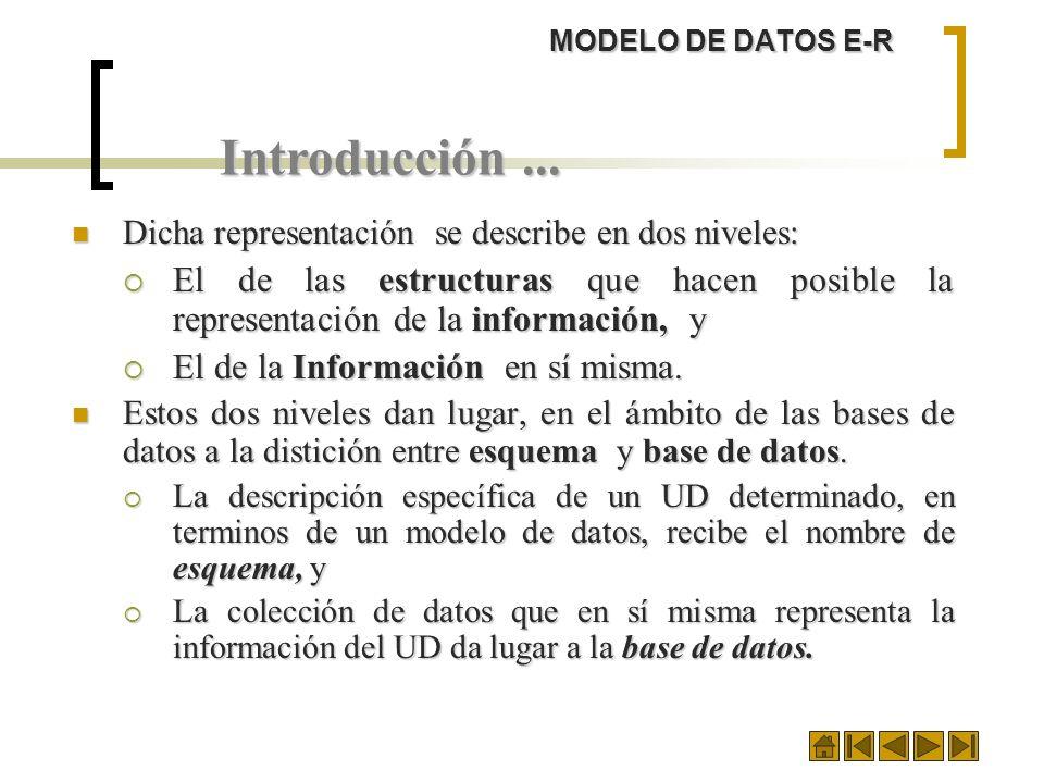 MODELO DE DATOS E-R Introducción... Dicha representación se describe en dos niveles: Dicha representación se describe en dos niveles: El de las estruc