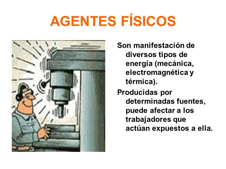 AGENTES FÍSICOS Son manifestación de diversos tipos de energía (mecánica, electromagnética y térmica). Producidas por determinadas fuentes, puede afec