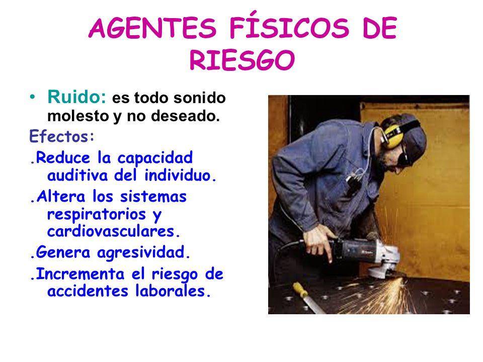 AGENTES FÍSICOS DE RIESGO Ruido: es todo sonido molesto y no deseado. Efectos:.Reduce la capacidad auditiva del individuo..Altera los sistemas respira