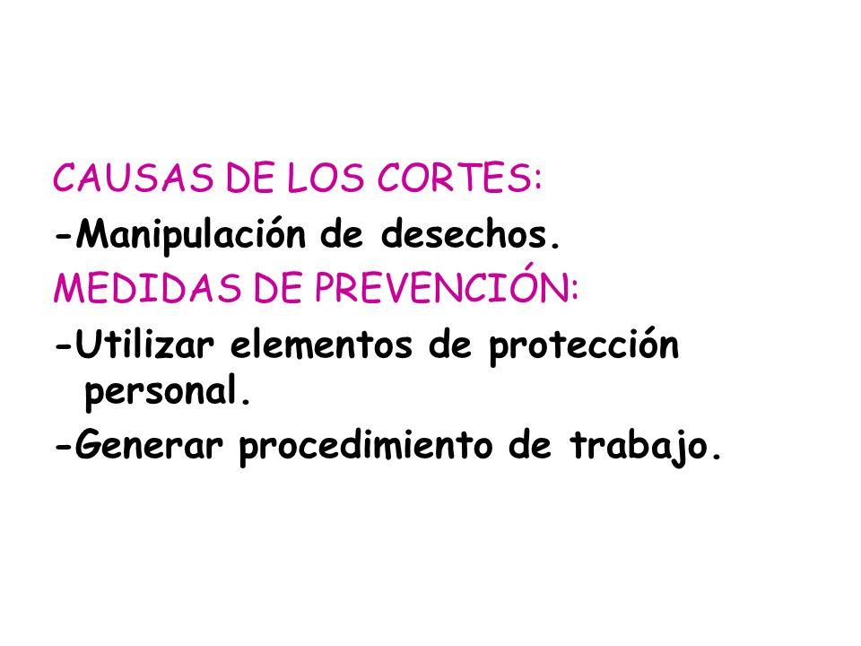CAUSAS DE LOS CORTES: -Manipulación de desechos. MEDIDAS DE PREVENCIÓN: -Utilizar elementos de protección personal. -Generar procedimiento de trabajo.