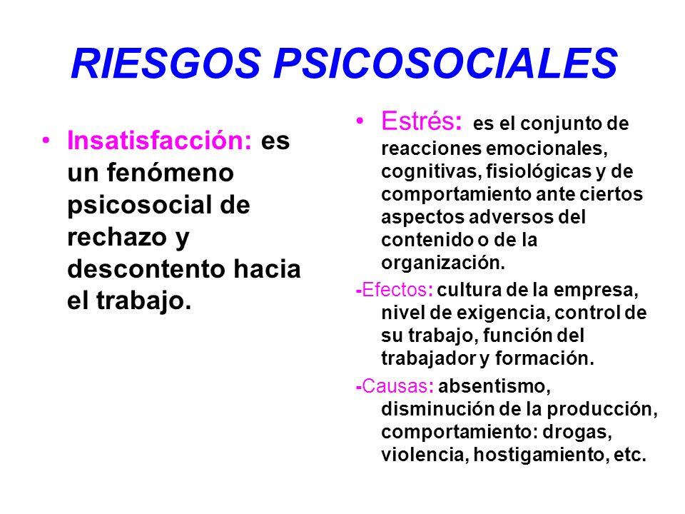 RIESGOS PSICOSOCIALES Insatisfacción: es un fenómeno psicosocial de rechazo y descontento hacia el trabajo. Estrés: es el conjunto de reacciones emoci