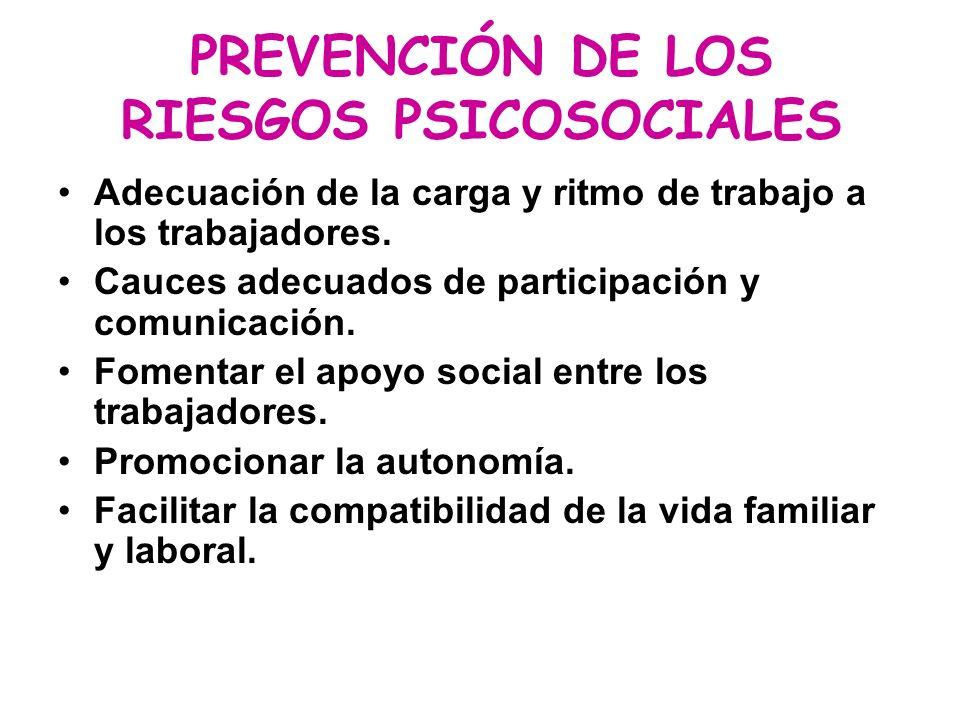 PREVENCIÓN DE LOS RIESGOS PSICOSOCIALES Adecuación de la carga y ritmo de trabajo a los trabajadores. Cauces adecuados de participación y comunicación