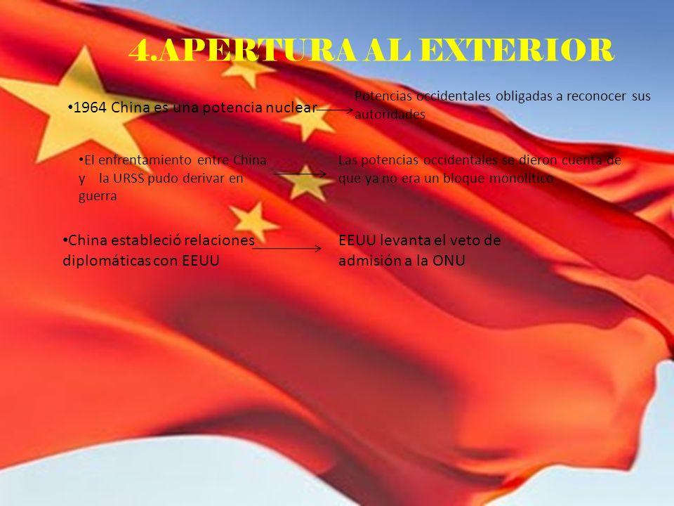 4.APERTURA AL EXTERIOR 1964 China es una potencia nuclear Potencias occidentales obligadas a reconocer sus autoridades El enfrentamiento entre China y