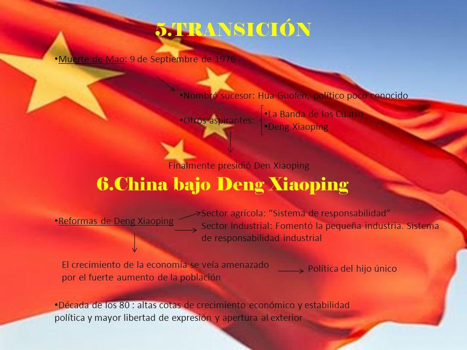 5.TRANSICIÓN Muerte de Mao: 9 de Septiembre de 1976 Reformas de Deng Xiaoping Nombró sucesor: Hua Guofen, político poco conocido Otros aspirantes: La