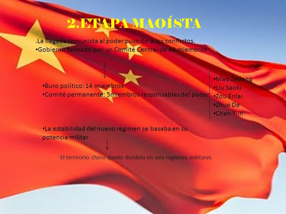 2.ETAPA MAOÍSTA.La llegada comunista al poder puso fin a los conflictos. Gobierno formado por un Comité Central de 44 miembros Buro político: 14 miemb