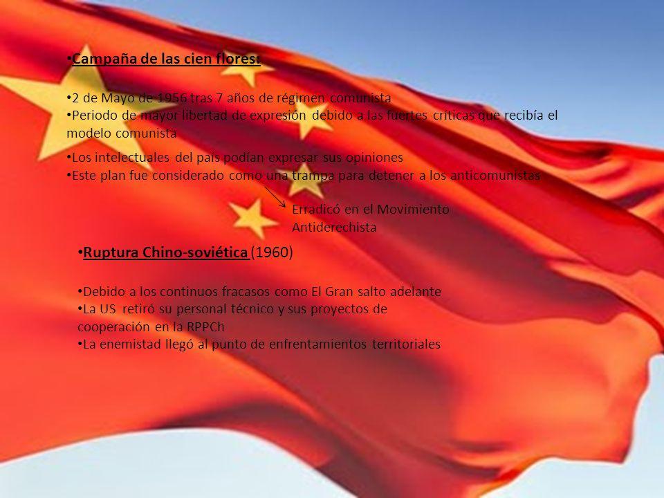 Campaña de las cien flores: 2 de Mayo de 1956 tras 7 años de régimen comunista Periodo de mayor libertad de expresión debido a las fuertes críticas qu