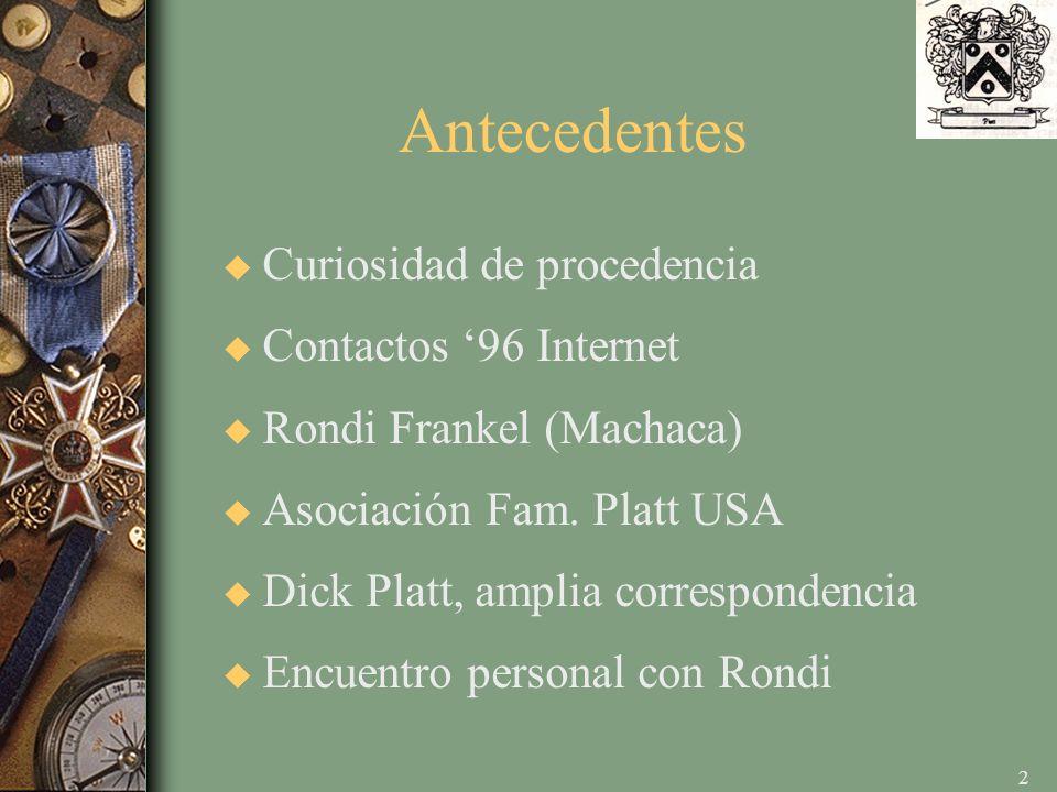 2 Antecedentes u Curiosidad de procedencia u Contactos 96 Internet u Rondi Frankel (Machaca) u Asociación Fam.