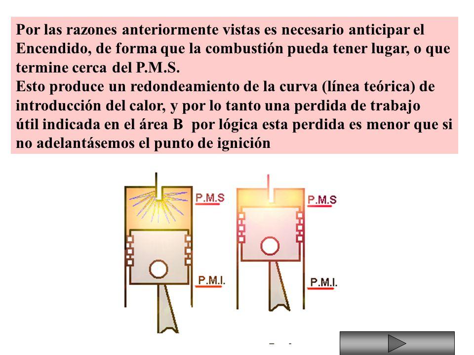 Por las razones anteriormente vistas es necesario anticipar el Encendido, de forma que la combustión pueda tener lugar, o que termine cerca del P.M.S.