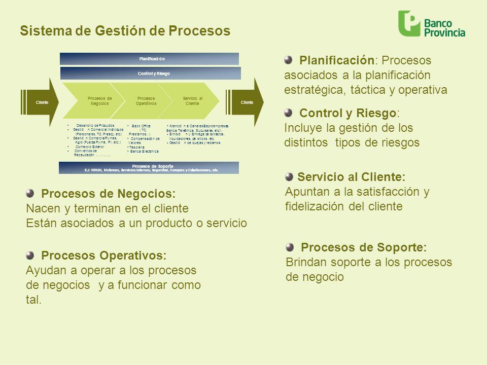 Sistema de Gestión de Procesos Planificación: Procesos asociados a la planificación estratégica, táctica y operativa Control y Riesgo: Incluye la gest