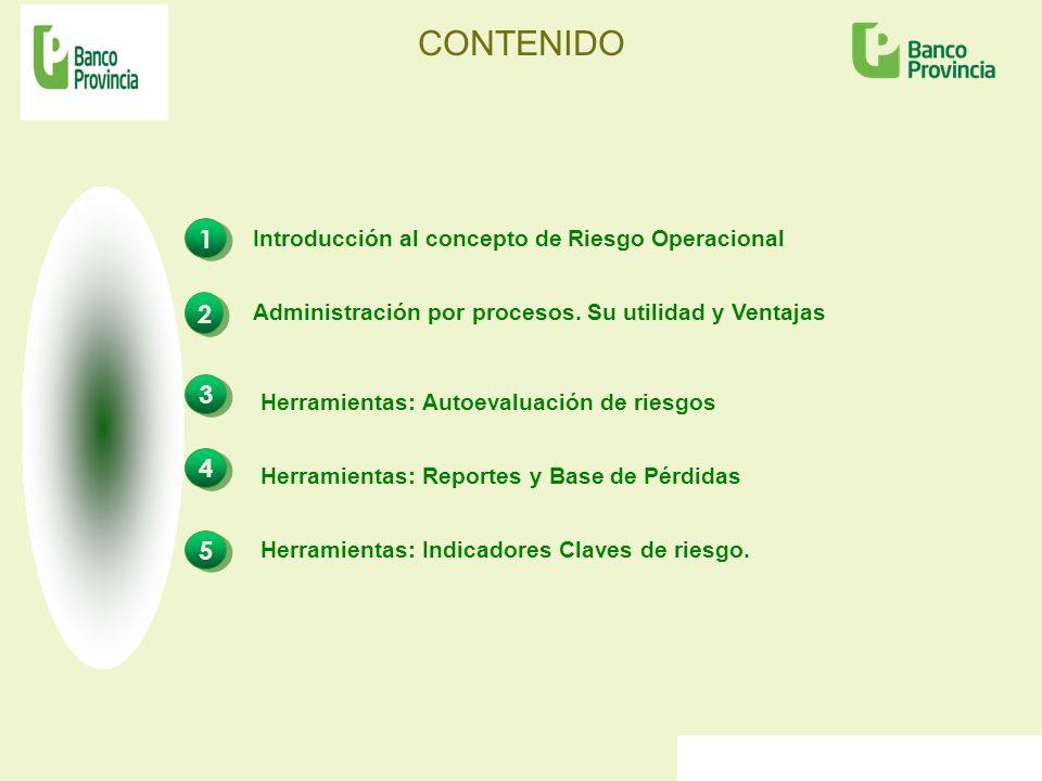 CONTENIDO 1 1 3 3 2 2 Introducción al concepto de Riesgo Operacional Herramientas: Autoevaluación de riesgos Administración por procesos. Su utilidad