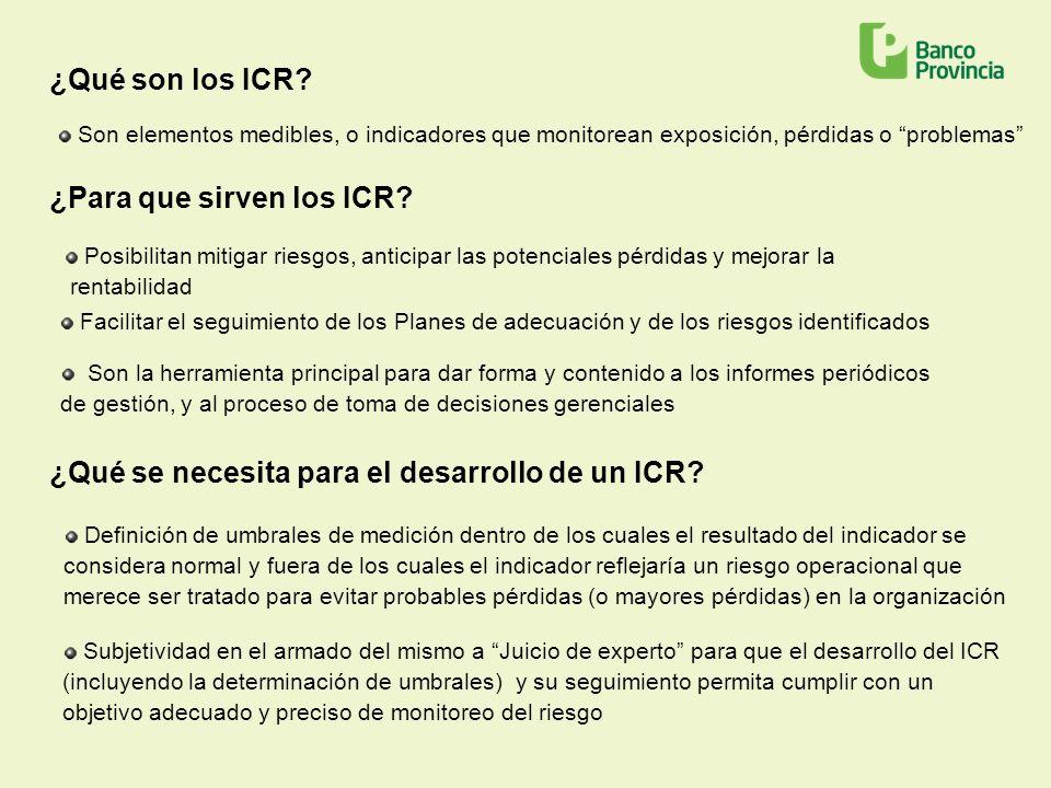 ¿Qué son los ICR? Son elementos medibles, o indicadores que monitorean exposición, pérdidas o problemas Posibilitan mitigar riesgos, anticipar las pot
