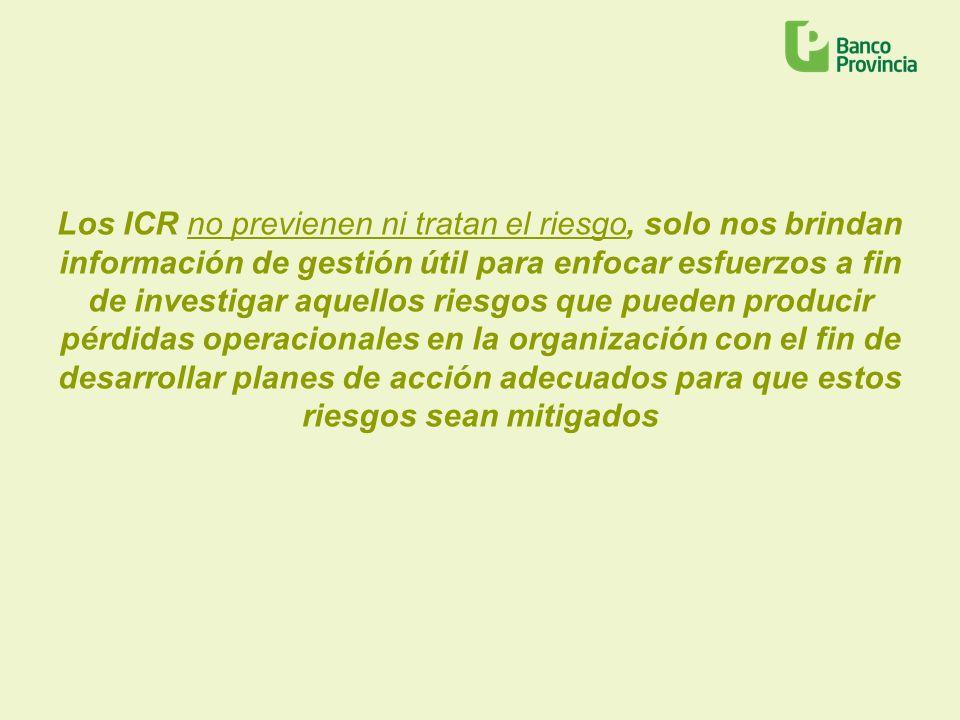 Los ICR no previenen ni tratan el riesgo, solo nos brindan información de gestión útil para enfocar esfuerzos a fin de investigar aquellos riesgos que