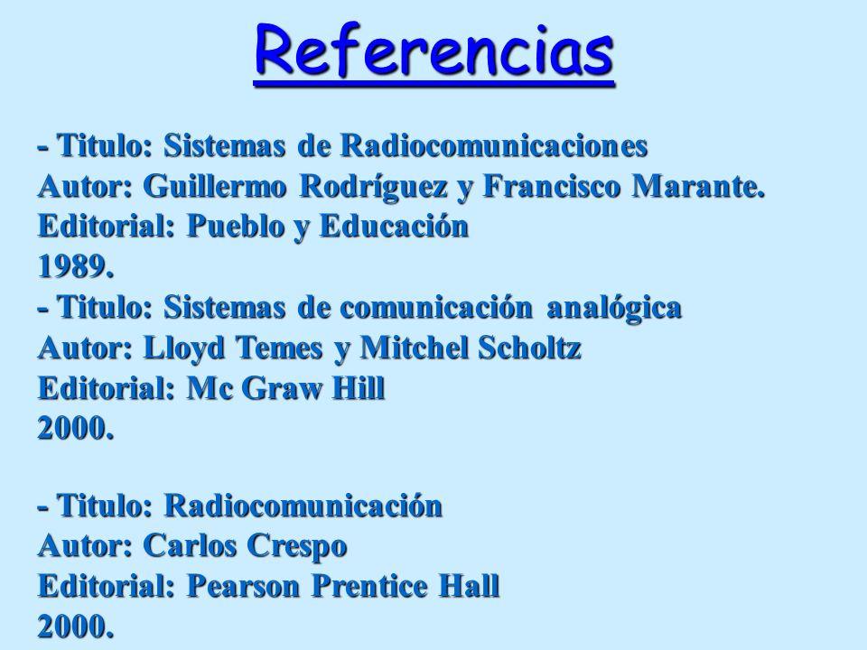Referencias - Titulo: Sistemas de Radiocomunicaciones Autor: Guillermo Rodríguez y Francisco Marante. Editorial: Pueblo y Educación 1989. - Titulo: Si