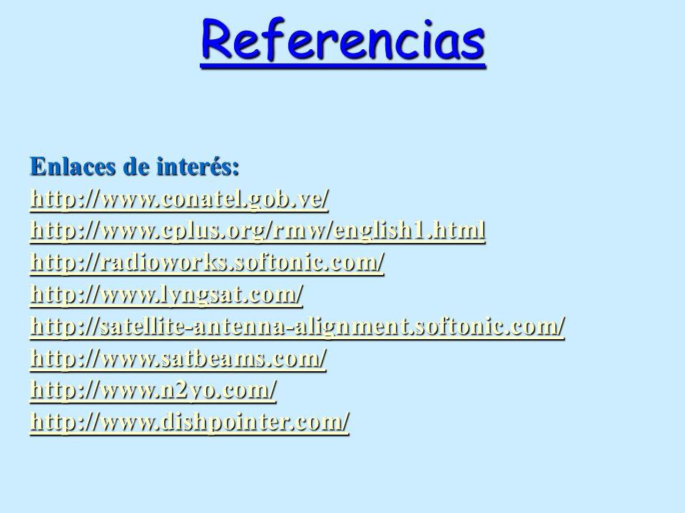 Referencias Enlaces de interés: http://www.conatel.gob.ve/ http://www.cplus.org/rmw/english1.html http://radioworks.softonic.com/ http://www.lyngsat.c