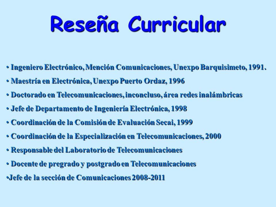 Reseña Curricular Ingeniero Electrónico, Mención Comunicaciones, Unexpo Barquisimeto, 1991. Ingeniero Electrónico, Mención Comunicaciones, Unexpo Barq
