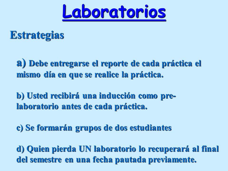 Laboratorios Estrategias a) Debe entregarse el reporte de cada práctica el mismo día en que se realice la práctica. b) Usted recibirá una inducción co