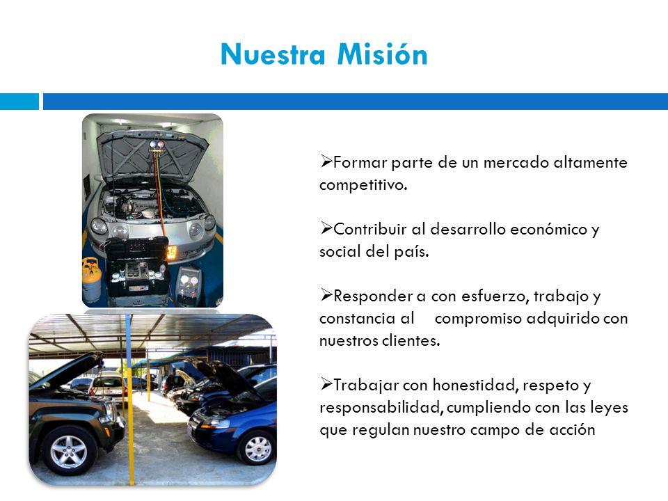 Nuestra Misión Formar parte de un mercado altamente competitivo. Contribuir al desarrollo económico y social del país. Responder a con esfuerzo, traba