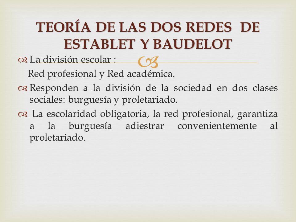 La división escolar : Red profesional y Red académica. Responden a la división de la sociedad en dos clases sociales: burguesía y proletariado. La esc