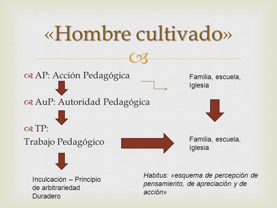 AP: Acción Pedagógica AuP: Autoridad Pedagógica TP: Trabajo Pedagógico Hombrecultivado «Hombre cultivado» Familia, escuela, Iglesia Habitus: «esquema