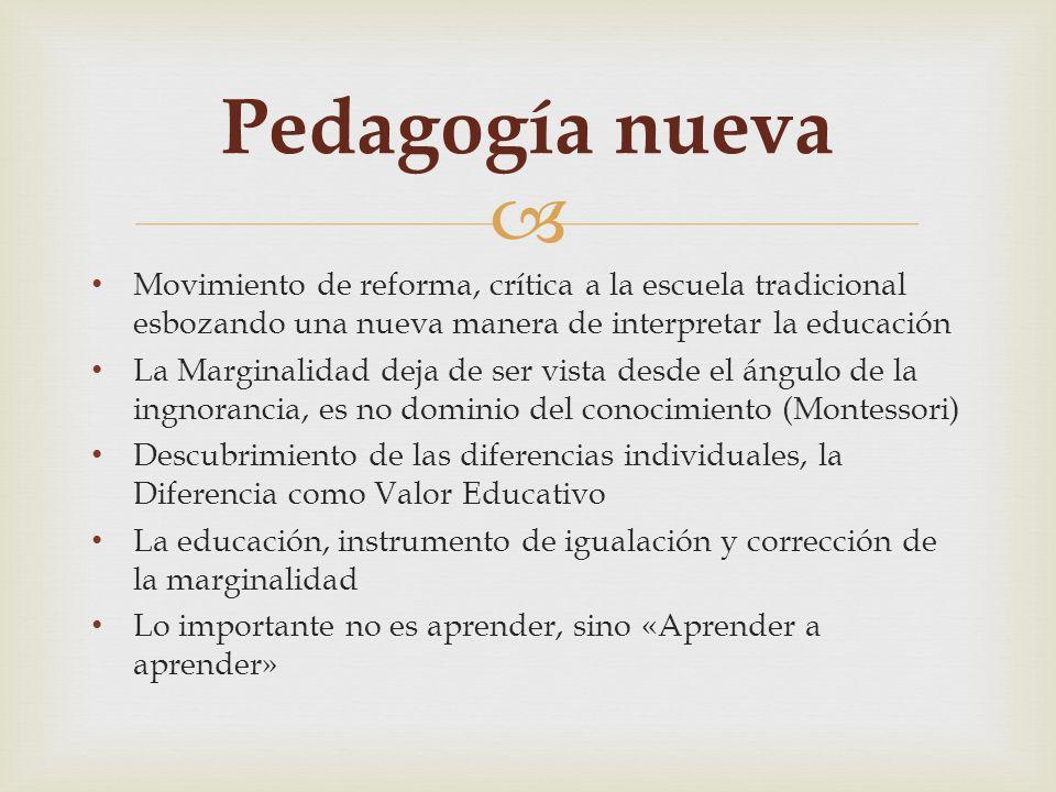 Movimiento de reforma, crítica a la escuela tradicional esbozando una nueva manera de interpretar la educación La Marginalidad deja de ser vista desde