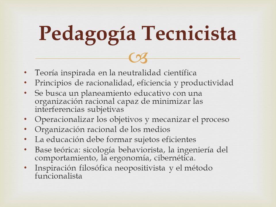 Teoría inspirada en la neutralidad científica Principios de racionalidad, eficiencia y productividad Se busca un planeamiento educativo con una organi